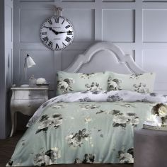 Charlotte Floral Duvet Cover Set - Duck Egg Blue