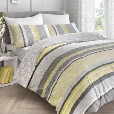 Hanworth Floral Stripe Reversible Duvet Cover Set - Ochre Yellow