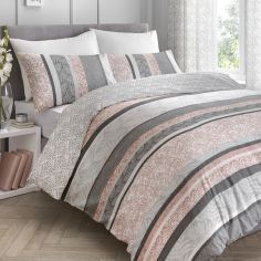 Hanworth Floral Stripe Reversible Duvet Cover Set - Pink