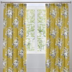 Mirabella Floral Lined Tape Top Curtains - Ochre Yellow