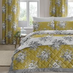 Mirabella Floral Quilted Bedspread - Ochre Yellow