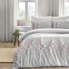 Oriental Flower Duvet Cover Set - Pink