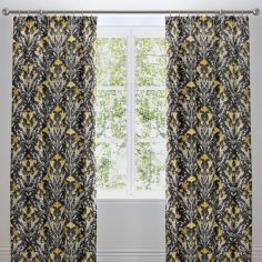 Venito Floral Tape Top Curtains - Ochre Yellow