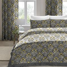 Venito Floral Quilted Bedspread - Ochre Yellow