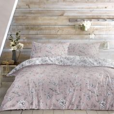 Vintage Birds Floral Duvet Cover Set - Blush Pink