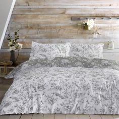 Vintage Birds Floral Duvet Cover Set - Grey