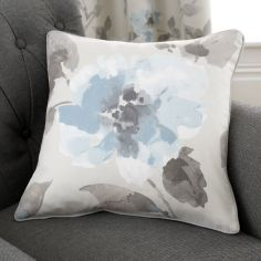Adriana Floral 100% Cotton Cushion Cover - Duck Egg Blue