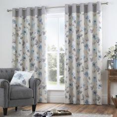 Adriana Floral Fully Lined Eyelet Curtains - Duck Egg Blue