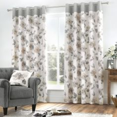 Adriana Floral Fully Lined Eyelet Curtains - Natural