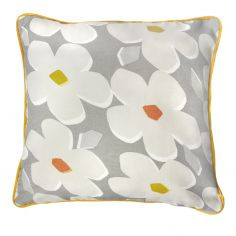 Aura Floral 100% Cotton Cushion Cover - Grey