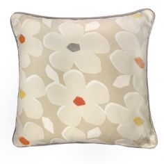 Aura Floral 100% Cotton Cushion Cover - Natural