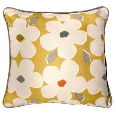 Aura Floral 100% Cotton Cushion Cover - Ochre Yellow