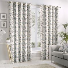 Aura Floral Fully Lined Eyelet Curtains - Grey