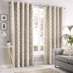 Aura Floral Fully Lined Eyelet Curtains - Natural