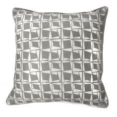 Capella Geometric 100% Cotton Cushion Cover - Grey