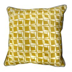 Capella Geometric 100% Cotton Cushion Cover - Ochre Yellow