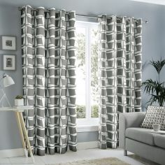 Capella Geometric Fully Lined Eyelet Curtains - Grey