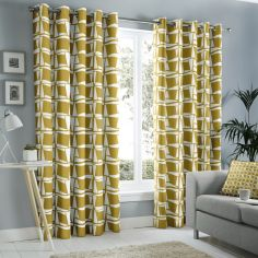 Capella Geometric Fully Lined Eyelet Curtains - Ochre Yellow