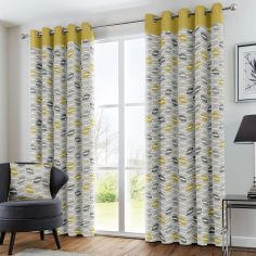 Copeland Leaf Fully Lined Eyelet Curtains - Ochre Yellow