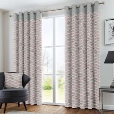 Copeland Leaf Fully Lined Eyelet Curtains - Pink