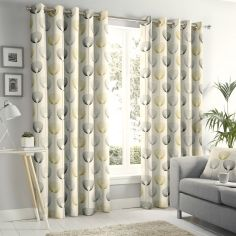 Delta Geometric Floral Fully Lined Eyelet Curtains - Natural