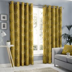 Delta Geometric Floral Fully Lined Eyelet Curtains - Ochre Yellow