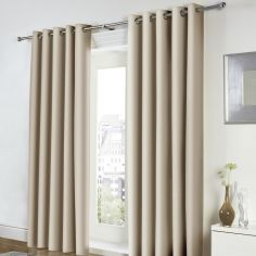 Freya Plain Fully Lined Eyelet Curtains - Natural