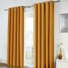 Freya Plain Fully Lined Eyelet Curtains - Ochre Yellow