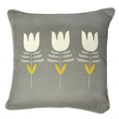 Haldon Floral Tulip Cushion Cover - Grey