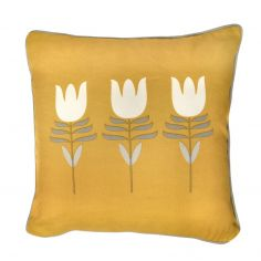 Haldon Floral Tulip Cushion Cover - Ochre Yellow
