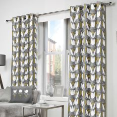 Haldon Floral Tulip Fully Lined Eyelet Curtains - Grey