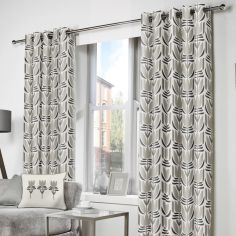 Haldon Floral Tulip Fully Lined Eyelet Curtains - Natural