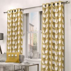 Haldon Floral Tulip Fully Lined Eyelet Curtains - Ochre Yellow