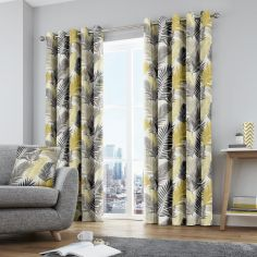 Tropical Palm Leaf Fully Lined Eyelet Curtains - Ochre Yellow