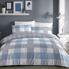 Barcelona Check Duvet Cover Set - Blue