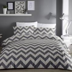 Chevron Zig Zag Duvet Cover Set - Grey