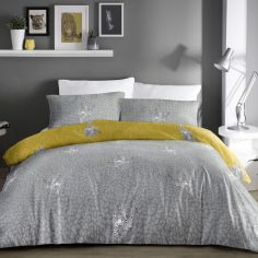 Desert Leopard Duvet Cover Set - Grey & Ochre Yellow