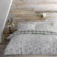 Ducks Print Reversible Check Duvet Cover Set - Multi