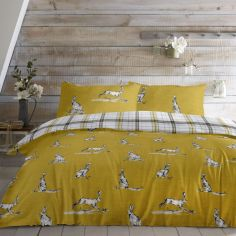 Hare Print Reversible Check Duvet Cover Set - Ochre Yellow