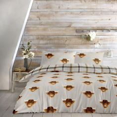 Highland Cow Print Reversible Check Duvet Cover Set - Multi