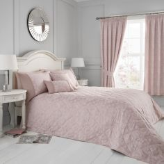 Blossom Floral Quilted Bedspread - Blush Pink