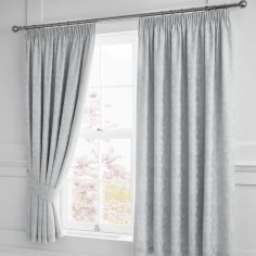 Blossom Floral Fully Lined Tape Top Curtains with Tie-backs - Silver Grey