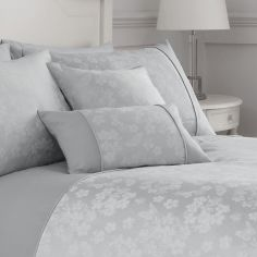 Blossom Floral Boudoir Cushion Cover - Silver Grey