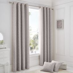 Ebony Floral Trail Fully Lined Eyelet Curtains - Mauve