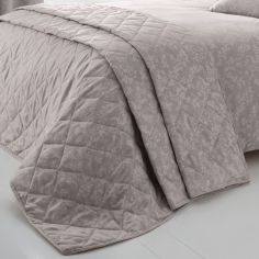 Ebony Floral Trail Quilted Bedspread - Mauve