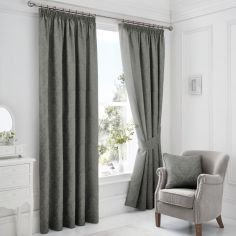 Laurent Damask Jacquard Fully Lined Tape Top Curtains with Tie-backs - Graphite Grey