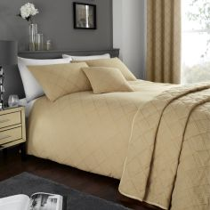 Wilmslow Geometric Jacquard Woven Duvet Cover Set - Ochre Yellow