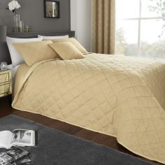 Wilmslow Geometric Jacquard Quilted Bedspread - Ochre Yellow