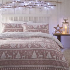 Scandi Christmas Thermal Flannelette Reversible Duvet Cover Set - Blush Pink