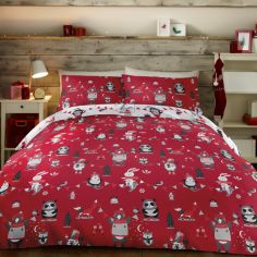 Christmas Party Animals Duvet Cover Set - Red